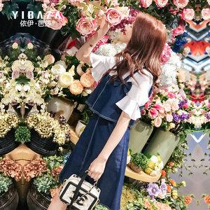 两件套牛仔连衣裙女2019春夏新款女装甜美背带短袖裙子韩版套装裙