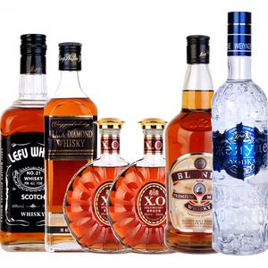 洋酒6瓶 乐弗威士忌+黑钻威士忌+xo白兰地2瓶+布伦多+尊蓝<span class=H>伏特加</span>