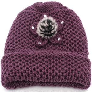 老太太毛线帽子女秋冬天老人帽子加绒加厚冬天奶奶帽保暖妈妈帽子