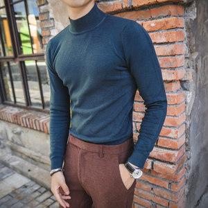 纯色修身打底针织衫长袖<span class=H>英伦</span><span class=H>时尚</span>修身半高领休闲<span class=H>毛衣</span>中领线衫
