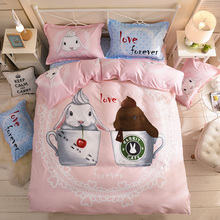 Princess Wind Bed Couple Four Kids and Girls Cartoon Bed Sheets Three Kits in Student Dormitory