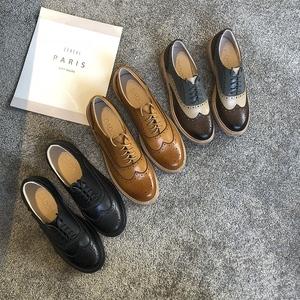2019春季新款英伦风小皮鞋牛津鞋真皮布洛克<span class=H>女鞋</span>复古单鞋潮<span class=H>鞋子</span>