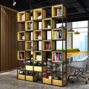 美式loft工业风屏风办公室<span class=H>书架</span>餐厅玄关格子架铁艺<span class=H>隔断</span>置物架