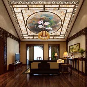 复古天花板壁画吊顶天棚壁纸 中式花卉天顶装饰画 无纺布墙纸