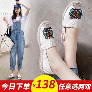 老北京布鞋女时尚款上班平底懒人一脚蹬草编帆布虎头刺绣渔夫鞋子