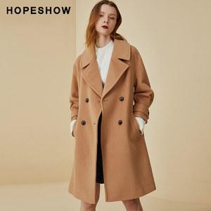 hopeshow毛呢大衣女 红袖冬装新款宽松显瘦翻领系带收腰毛呢外套