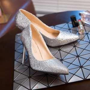 2017新款<span class=H>婚鞋</span>新娘鞋白色粗跟银色<span class=H>高跟鞋</span>女伴娘鞋子婚纱水晶鞋金色