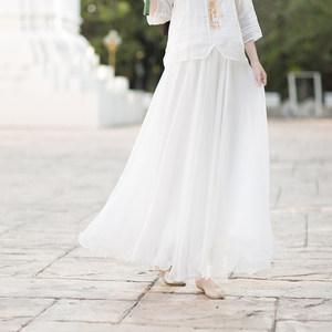 如云-飘逸仙气飘逸海边百搭雪纺加长大摆裙<span class=H>半身裙</span> 3种长度可选