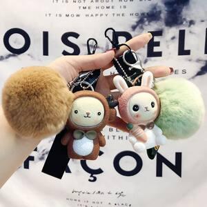 卡通小熊<span class=H>钥匙扣</span>女士韩国可爱个性创意毛绒甜美车钥匙挂件公仔高档