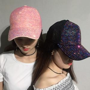 带钻<span class=H>帽子</span>女春镶钻时尚粉色黑色韩版潮百搭春夏水钻亮钻棒球鸭舌帽