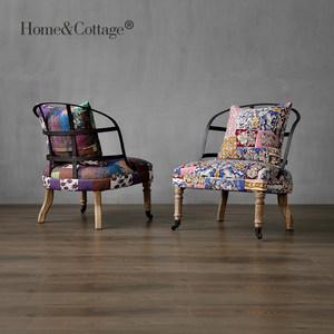 HC loft工业风复古<span class=H>沙发椅</span>铁艺家具 欧式美式个性咖啡店单人转椅子