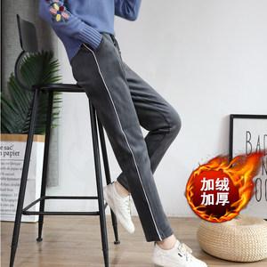 金<span class=H>丝绒</span><span class=H>运动裤</span>女2018冬季新款宽松大码加厚小直筒长裤休闲加绒卫裤