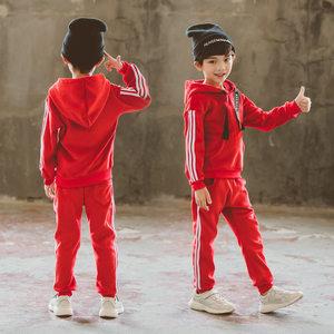 儿童冬季条纹黑色两件套大童装加厚男童冬天大红色金丝绒<span class=H>卫衣</span>套装