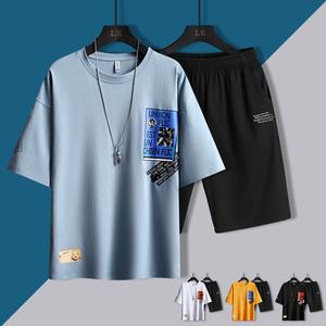夏季休闲运动套装男士韩版潮流短袖宽松t恤短裤一套衣服帅气两件