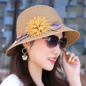 <span class=H>帽子</span>女 韩版透气草帽甜美布艺花朵盆帽圆顶礼帽沙滩帽遮阳帽凉帽