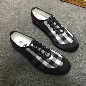 2018新款帆布鞋系带男鞋韩版潮鞋透气板鞋个性格子布鞋低帮懒人鞋