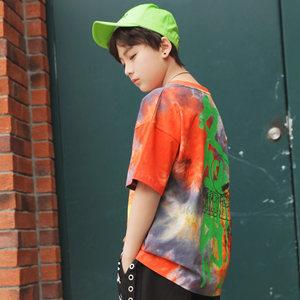 男童短袖<span class=H>T恤</span>2019新款夏装8纯棉12洋气夏款街舞帅气嘻哈中大童宽松