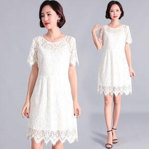 加大码哺乳连衣裙19夏季流苏蕾丝遮肚显瘦胖mm产后满月酒喂奶礼服