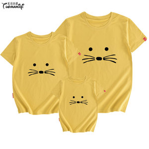 猫咪10岁一家五口潮牌<span class=H>亲子装</span>短袖t恤抖音同款高档ins婴童男白衣服