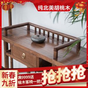 新中式<span class=H>案台</span>禅意供桌条几条案 老榆木仿古神台实木玄关桌现代简约