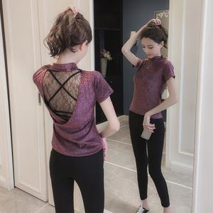 2018夏装新款亮丝圆领短袖T恤女士短款小心机露背性感打底衫上衣