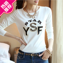Long-sleeved cotton T-shirt, white bottoming shirt, slim blouse and autumn dress for women in the spring and autumn of 2019