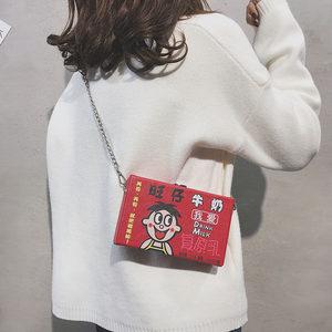chic链条小包包女2019新款韩版百搭盒子小方包可爱卡通单肩<span class=H>斜挎包</span>