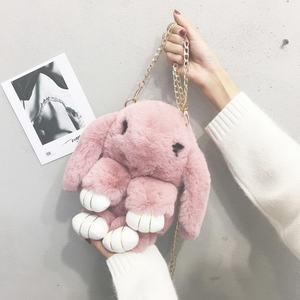 毛绒小包包女2019秋冬新款纯色毛毛包小清新可爱装死兔单肩斜挎包