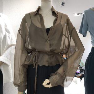 歌来美 防晒<span class=H>衬衫</span>女2019夏季新款心机性感雪纺欧根纱薄款长袖网纱