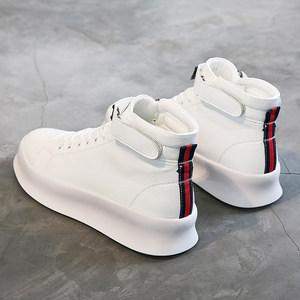男鞋秋季<span class=H>高帮鞋</span>韩版潮流厚底小白鞋嘻哈百搭白色休闲鞋高邦板鞋潮