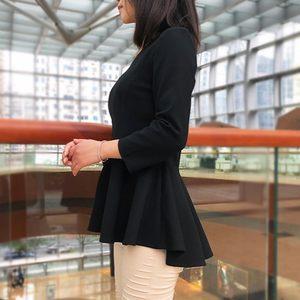 秋季裙摆小衫收腰洋气中长款前短后长上衣外穿九分袖<span class=H>打底衫</span>女秋款