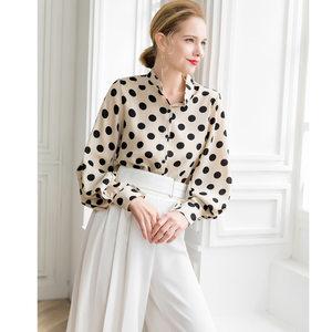 欧美时尚复古大波点个性灯笼袖合身显瘦法式高档雪纺<span class=H>衬衫</span>女春新款