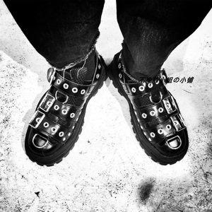 2019夏韩版厚底ins超火老爹鞋<span class=H>松糕</span>网红同款铆钉包头罗马<span class=H>凉鞋</span>女潮