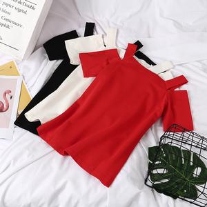 露肩一字领夏季短袖T恤性感潮时尚女装百搭棉t吊带上衣f9d015