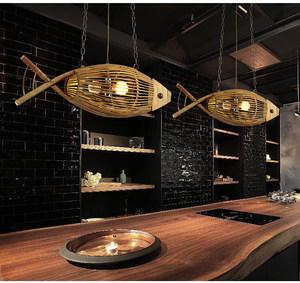 中式竹编织<span class=H>鱼</span>形灯具创意日式餐厅火锅店农家乐吧台木艺竹艺吊灯饰