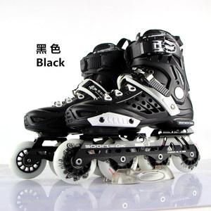 正品花式成人<span class=H>溜冰鞋</span>闪光成年黑白色轮滑鞋初学专业单排滑冰鞋包邮