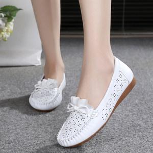 19春夏新款白色护士鞋<span class=H>凉鞋</span>女镂空大码平底鞋舒适豆豆鞋休闲妈妈鞋