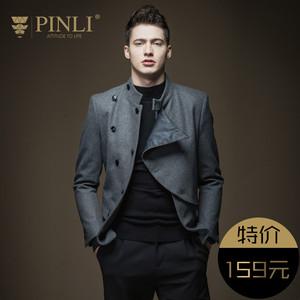 PINLI品立<span class=H>男装</span> 英伦风修身羊毛<span class=H>呢</span><span class=H>大衣</span>男外套韩版B163602355