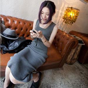 长款修身包臀针织背心<span class=H>吊带</span>裙连衣裙长裙弹力内搭紧身打底衫女显瘦