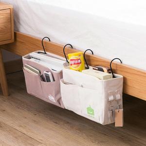 布艺宿舍床头挂袋上铺床边挂架 挂式帆布收纳袋学生床上手机挂篮