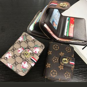欧美短款钱包风琴<span class=H>卡包</span>印花拉链钱夹女式多卡位驾驶证皮套卡夹新款