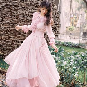 粉色雪纺<span class=H>连衣裙</span>2019夏显瘦气质不规则荷叶边大摆长裙超仙的仙女裙