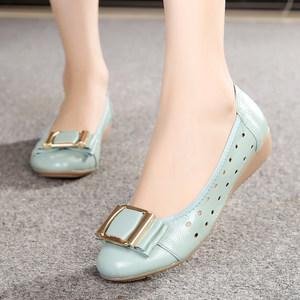 包头<span class=H>凉鞋</span>女夏季平底单鞋妈妈鞋真皮软底中年女鞋豆豆鞋女休闲皮鞋
