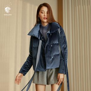 范思蓝恩金丝绒面包短款羽绒服女2018新款流行小个子时尚修身外套