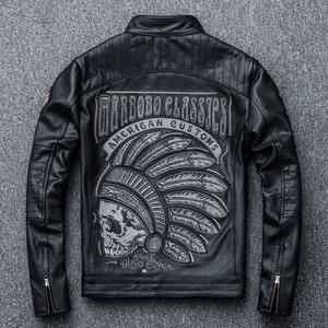 欧美刺绣男士机车真皮<span class=H>皮衣</span>牛皮男式立领摩托车服夹克外套 印第安