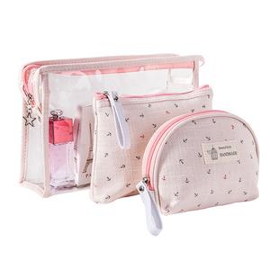 新款船锚pvc透明女式<span class=H>化妆包</span>套装 旅行防水洗漱包三件套彩妆收纳包