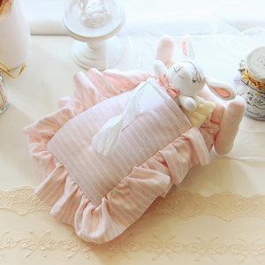 日系OE可爱小兔子小熊条纹花边<span class=H>纸巾盒</span>套纯棉车用家用多用途抽纸套