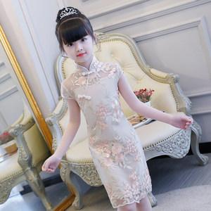 小女孩<span class=H>旗袍</span>女春夏女童礼服公主裙中大童儿童中式唐装古筝演出服