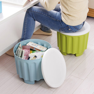 可叠加收纳凳子<span class=H>储物凳</span>可坐圆形 成人家用简约现代 塑料换鞋凳包邮