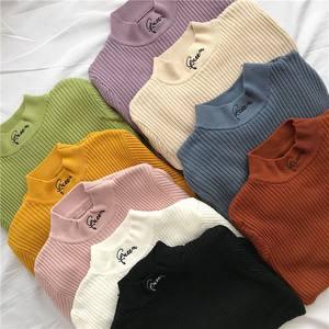 新款半高领套头短款<span class=H>毛衣</span>女秋季韩版修身紧身长袖打底针织衫